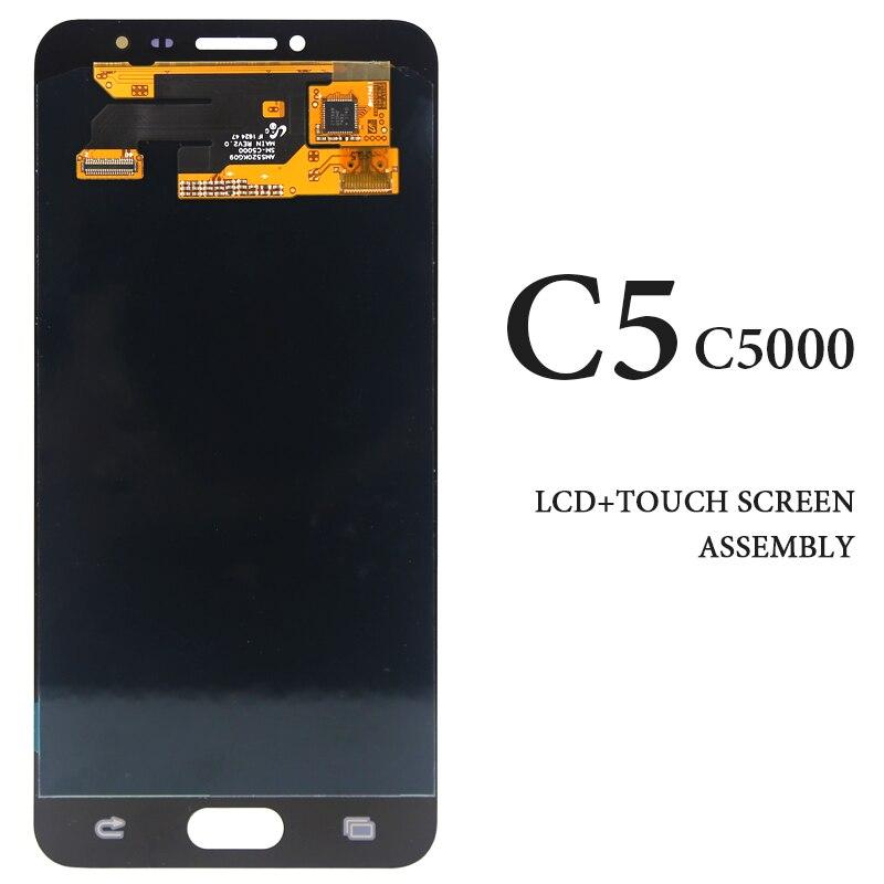 5.2 pouces AMOLED noir blanc or affichage pour Samsung Galaxy C5 C5000 LCD écran numériseur assemblée téléphone pièces de rechange