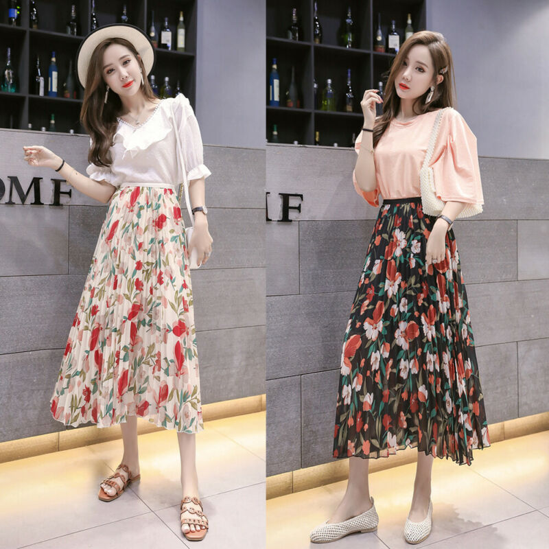 Korean Style Sweet Ladies Women Boho Floral Mid Calf Skirts Summer Beach Evening Party Holiday Casual Loose Pleated Skirts