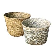 2020 Handmade Bamboo Storage Baskets Laundry Straw Patchwork Wicker Rattan Seagrass Belly Garden Flower Pot Planter Basket