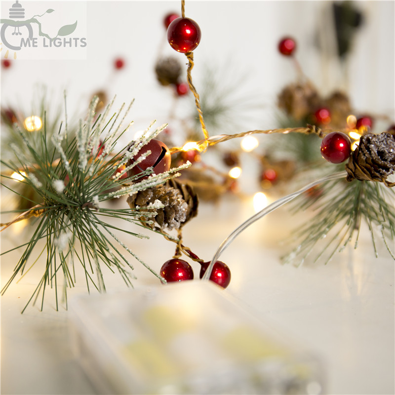 Red Berry Christmas Garland Lights Led Copper Fairy Pinecone String Holiday For Xmas Tree And Home Decoration In From