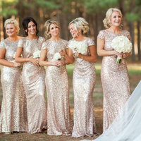 Sequins Short Sleeve Gold Bridesmaid Dresses Long Champagne Bridesmaid Dress Backless 2015 For Weddings Party
