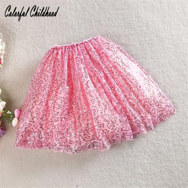 Blingbling Christmas Baby Clothes Autumn Girls Fluffy Skirt Sequin Mesh Tutu Toddler Kids Children Clothing