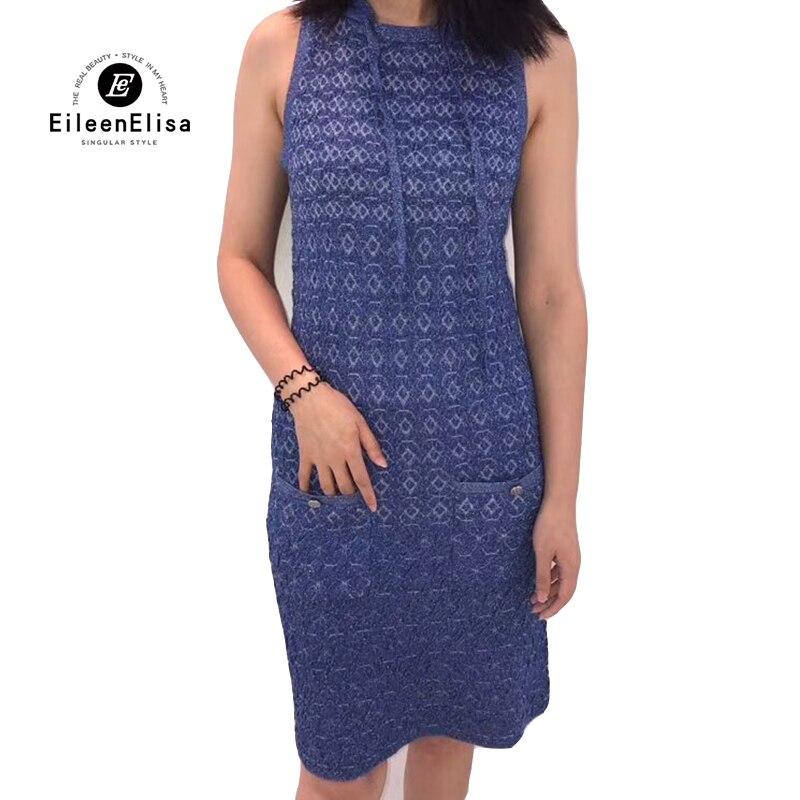 Robe bleue élégante robe de marque de luxe femmes 2019 robe de marque européenne à capuche