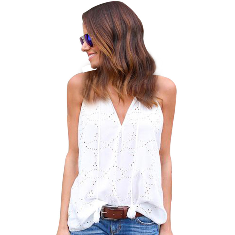 Sweet Lace   Tank     Top   Vest Women Beach Casual Boho V Neck Camis 2018 Women's   Tops   Base Shirt Women's Blouse Wholesale noAR13