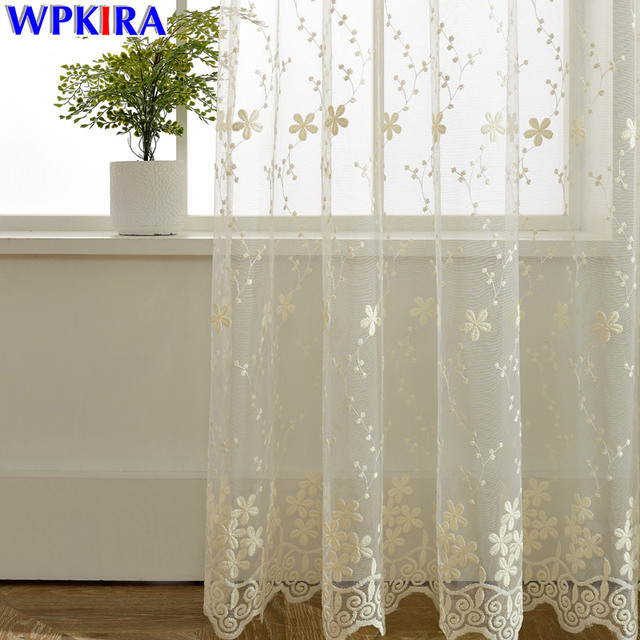 Lace Curtain Sheer Embroidered Tulle Curtains Living Room Bedroom Window Panels Girls Pink White Blue