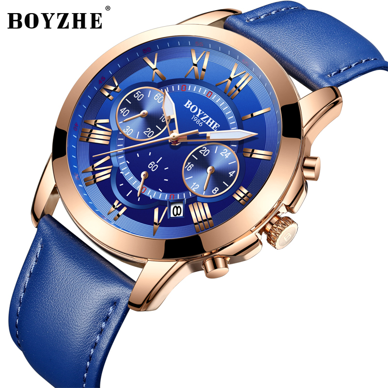 BOYZHE Men Quartz Fashion Sports Watch Leather Black Time Luminous Luxury Brand Waterproof Business Watches Relogio Masculino free shipping 10pcs la1875