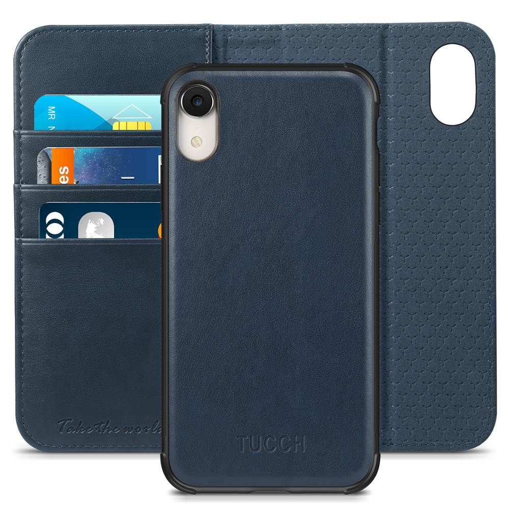 iPhone XR Case, TUCCH PU Leather Flip Slim Case [RFID Blocking] [2 in 1] [Kickstand] Credit Card Slots, [Book Case]