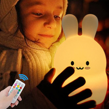 Touch Sensor Rabbit LED Night Light Remote Control 9 Color Dimmable Timer USB Silicone Bunny Bedside