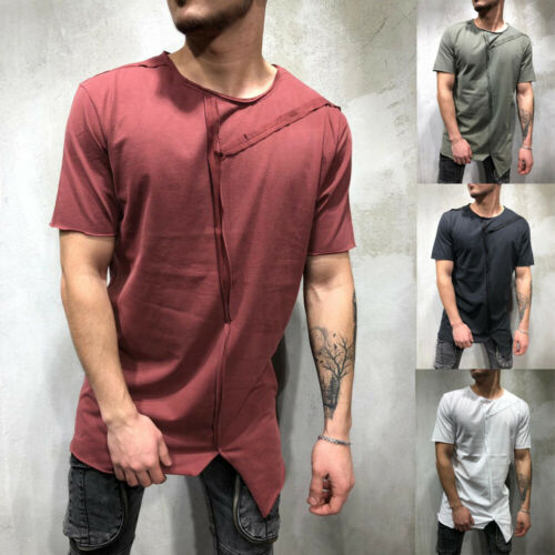 Hot Sale Fashion 2019 Men Crew Neck Short-sleeve Solid Asymmetrical Casual T-Shirt Top Summer Comfortable Loose Tee-shirt M-XXXL