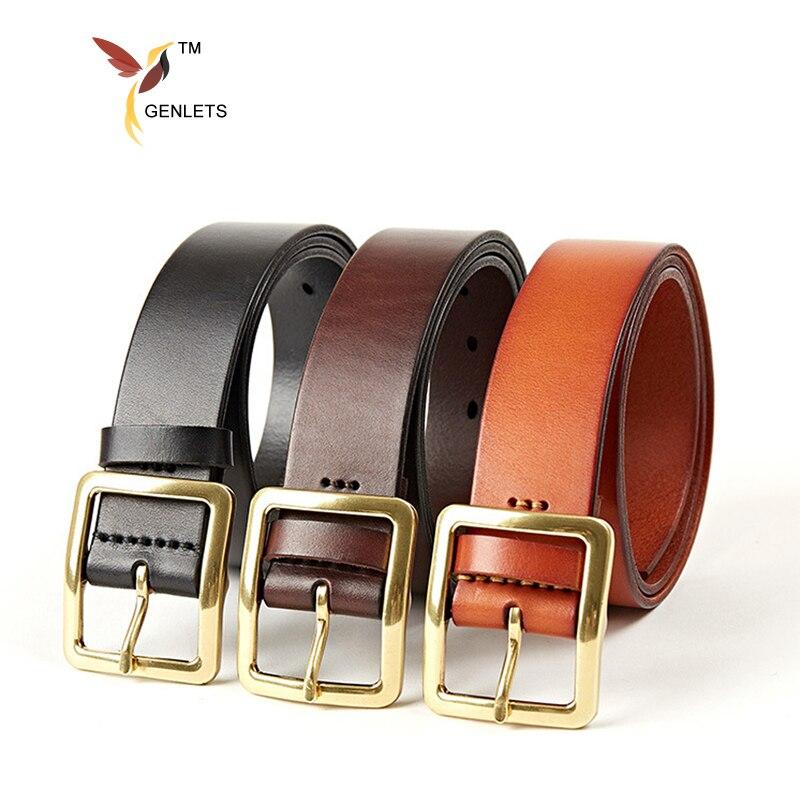 gold buckle leather belt men cow boy jean belts mens belt genuine leather luxury design strap free shipping