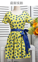 Free Shipping Temperament Melting Print Collect Waist Belt Dress With Short Sleeves