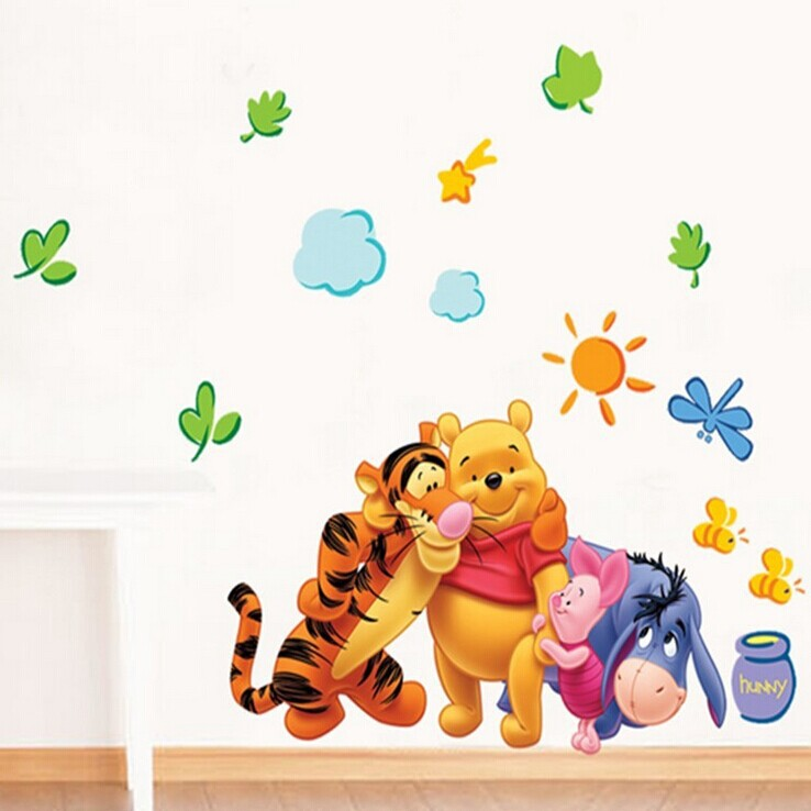 TC57-311 Free shipping Large Cartoons Home Decor Cute Winnie Tigger and Donkey boys/girls Bedroom Wall stickers 50*70CM