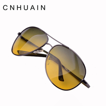 CNHUAIN night driving glasses day and night Polarized sunglasses men metal vintage night vision goggles brand men's sun glasses