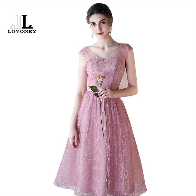 LOVONEY 6 Designs Brautjungfer Kleider Kurze Tee Länge V ausschnitt ...