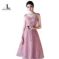 LOVONEY 6 Designs Bridesmaid Dresses Short Tea Length V Neck Tulle Wedding Party Gowns Vestido De