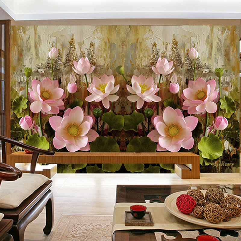 Photo custom 3D wallpaper 3d wall murals Lotus pond Durable Living Room Bedroom Background Wall 3d stereoscopic wallpaper Decor custom baby wallpaper snow white and the seven dwarfs bedroom for the children s room mural backdrop stereoscopic 3d