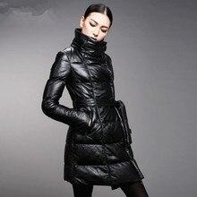 Winter Female Genuine Leather Down Coat Belt Lacing Sheepskin Leather Slim Medium-long Down Overcoat
