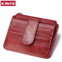 KAVIS Red Case Genuine Leather Card Holder Hasp Zipper Female Fashion Women ID Card Wallets Coin