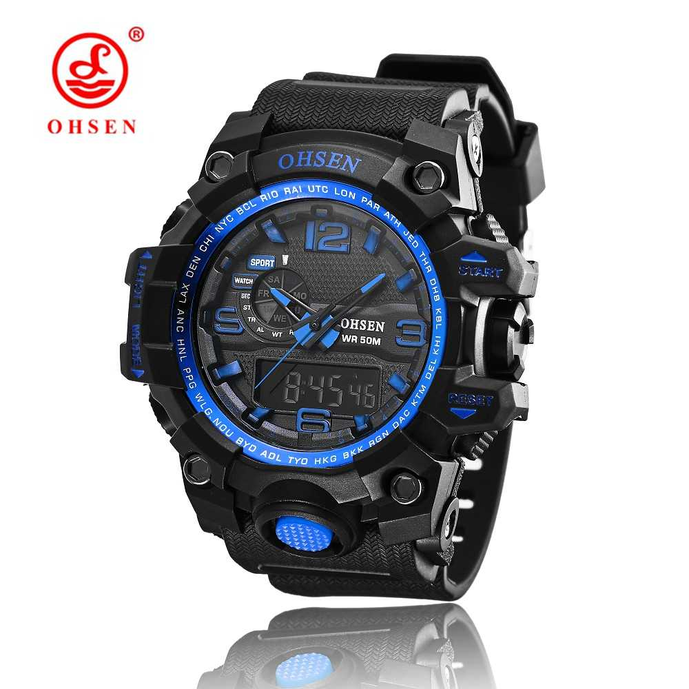 2018 New OHSEN Relogio Masculinos Luxury Brand Backlight Digital Display Date Alarm Stopwatch 50M Waterproof Sports Watches Men