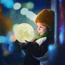 Новинка Луна лампа 3D ночной Светильник Перезаряжаемые сенсорный Управление светильник s 16 Цвета изменения с пультом управления ночные лампы для ребенка, украшение дома