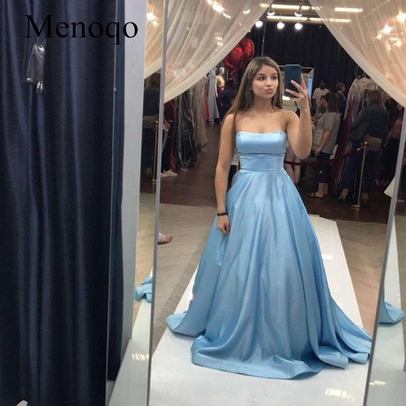 Bleu clair Satin a-ligne robes de bal sans bretelles filles robes de Graduation simples longues robes de bal vestidos formatura