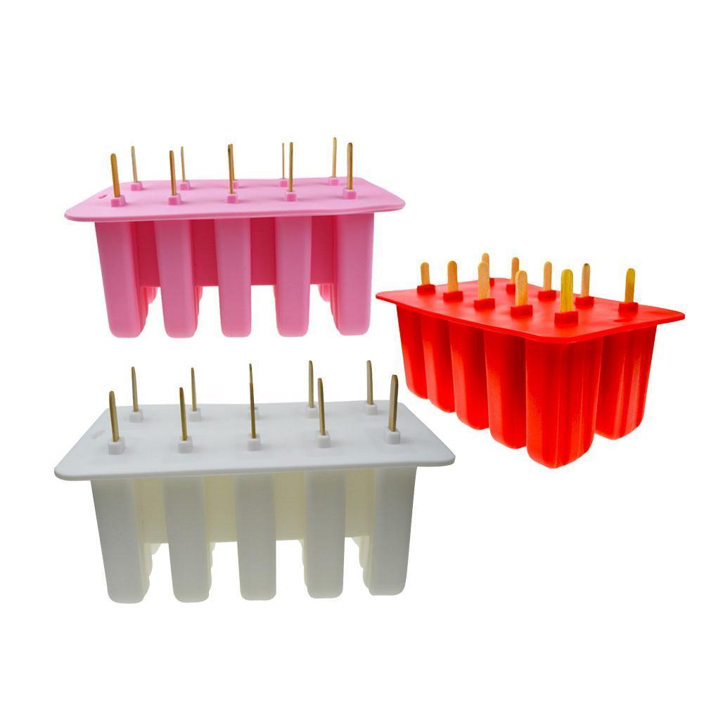 HOT Sale Georgia Silica Gel Ice Cream Mould Popsicle Mold Ice Tray Puck Popsicle Mold Ice Cream 10 Grids High Quality L40