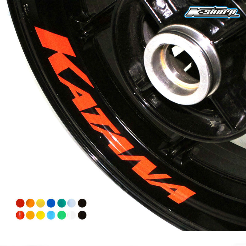 8 X CUSTOM INNER RIM DECALS WHEEL Reflective <font><b>STICKERS</b></font> STRIPES FIT <font><b>SUZUKI</b></font> KATANA image