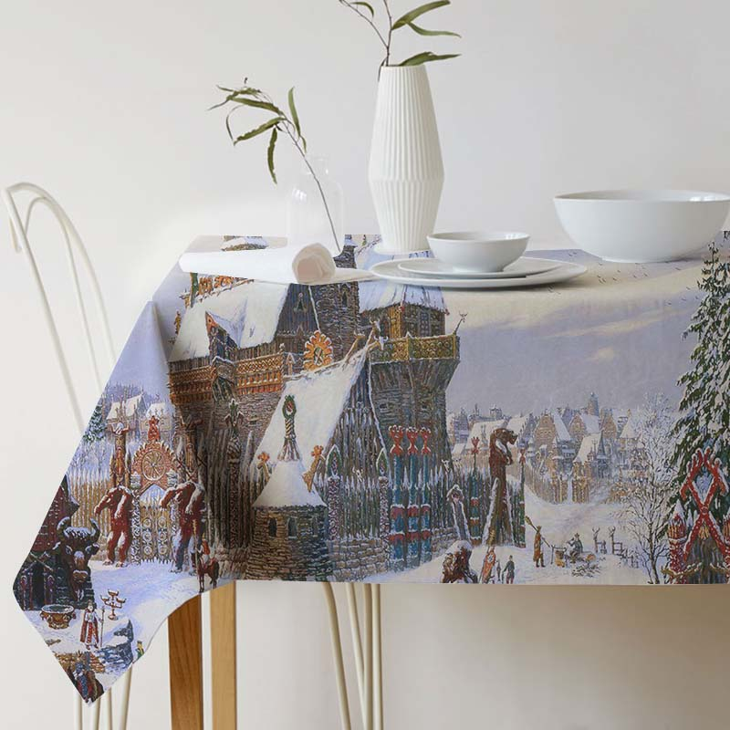 Tablecloth for table Vsevolod Ivanov Painting Art Cotton linen tablecloth Ink Home Protection and decoration Elegant Table cover