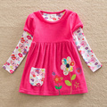 2016 Retail baby Girl Clothes Long Sleeve Girls Dress Flowers Kids clothing princess Dresses A-line children clothing LD6660