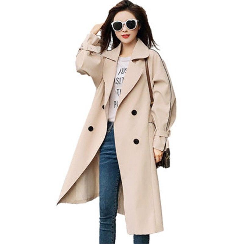 Fashion Khaki Windbreaker Female Long section Korean 2019 New Spring Autumn   Trench   Coats for Women Overcoats N579