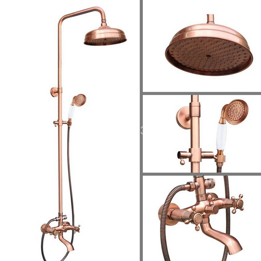 8 Inch Rain Shower Head Vintage Retro Red Antique Copper Bathroom Wall Mount Rainfall Handshower Shower Set arg514 premintehdw abs wall mount bathroom folding seat fold up seats shower rv seat