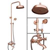 8 Inch Rain Shower Head Vintage Retro Red Antique Copper Bathroom Wall Mount Rainfall Handshower Shower Set arg514