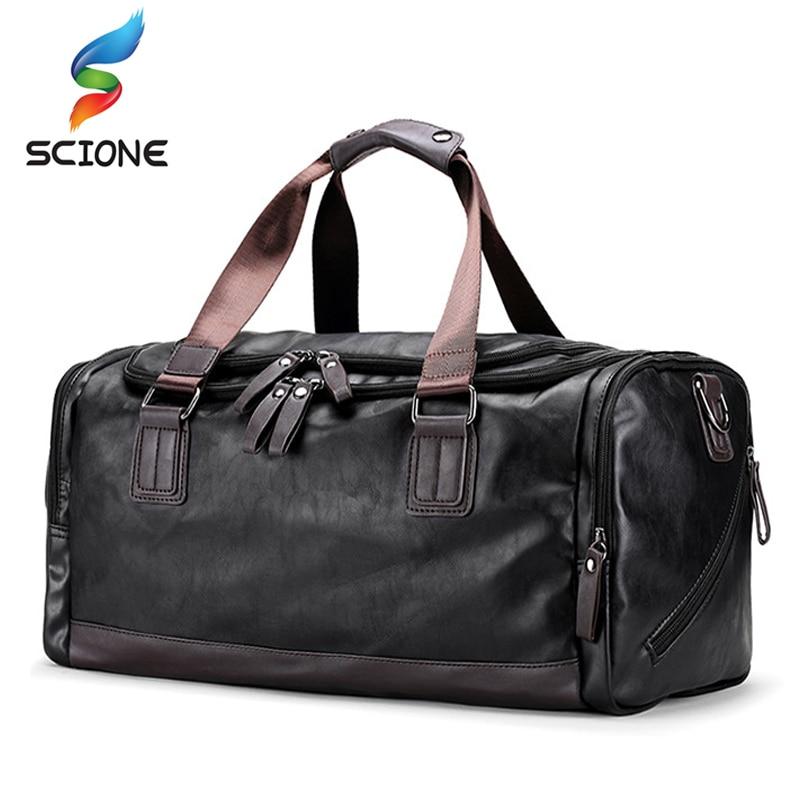 Hot Men Classic Soft Leather Sports Gym Bags Black Cylindrical Fitness Training Shoulder Bag Designer Single
