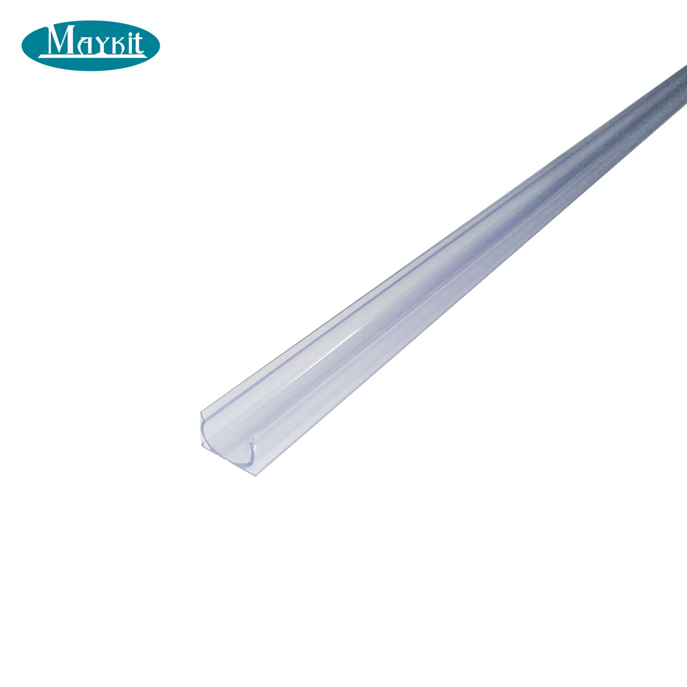Maykit Clear Plastic U-Channel For Fiber Optic Pool Perimeter Lighting, 1 Meter Length