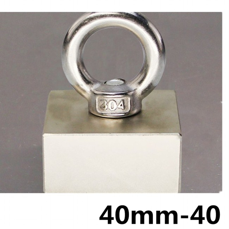 D40mm strong powerful round neodymium Magnet hook salvage Fishing magnet sea equipments Holder Pulling Mounting Pot with ring цена