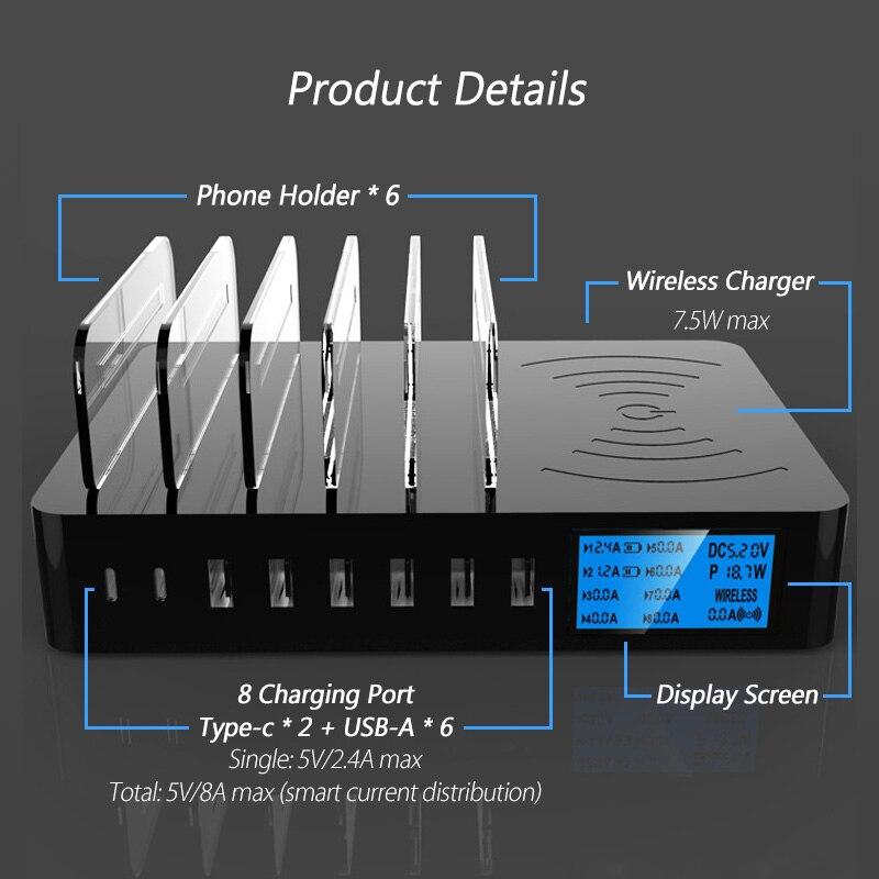 8 Ports Qi chargeur sans fil Charge rapide Type C USB 3.1 chargeur Station LED recharge rapide prise adaptateur bande EU US UK AU prise