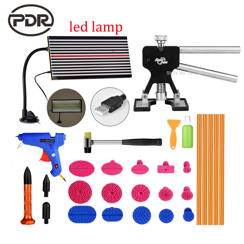 ФОТО Fast Shipping ! PDR Tools For Car Kit Dent Removal Paintless Dent Repair Tools LED Lamp Reflector Board Dent Puller Glue Tabs