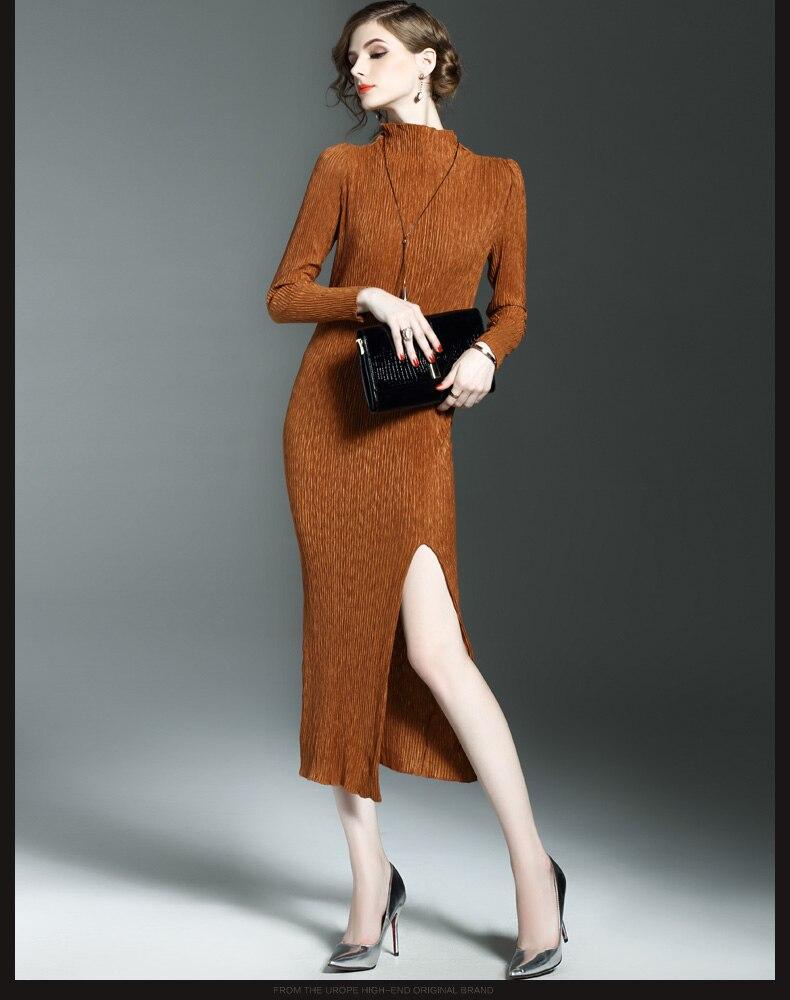 Automne marron Couleur Longues Noir Robe Col Solide Style Stock Rétro Nouveau Stand En Gratuite Asymétrique Manches Livraison waCq5fx