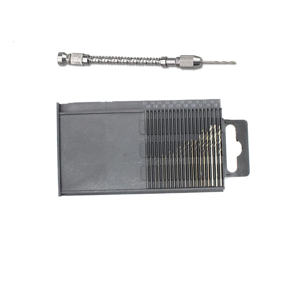 20pc Mini Micro Twist Drill Hss Bits 0.3mm-1.6mm+Semi-Automatic Handdrill Suit Micro Hobby Craft Jewelry Wood Mini Hand Drill hakkin mini hand drill 0 3 3 5mm with keyless chuck 10pcs hss twist drill bits for wood jewelry model nut manual drilling h