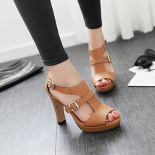 Women's High Heel Platform Open Toe Sandals Genuine Leather Brand Designer Metal Buckle Heeled Summer Shoes for Women Sandalias