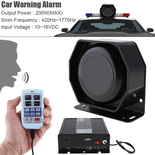 12V 200W 18 Tone Car Warning Alarm Police Siren Horn PA Speaker with MIC System + Wireless Remote Control