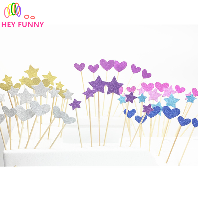 6pcs Wedding Decoration Heart Cupcake Topper Picks Event Party Supplies Birthday Baby Shower Sweet Toothpick Candy Bar ...
