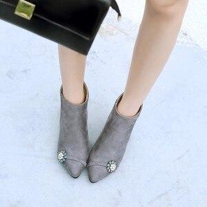 Image 2 - Большие размеры 11, 12, 13, 14, 15, 16, 17, модные ботинки на молнии в европейском и американском стиле с острым носком на тонком каблуке