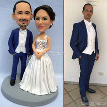 polymer clay baby custom face wedding cake topper figurine miniature romantic funny figure bride and groom statue