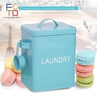 5L Laundry Powder Storage Box with Lid Scoop Metal Iron Washing Powder Storage Case Home Clean Container Flour Food Organizer
