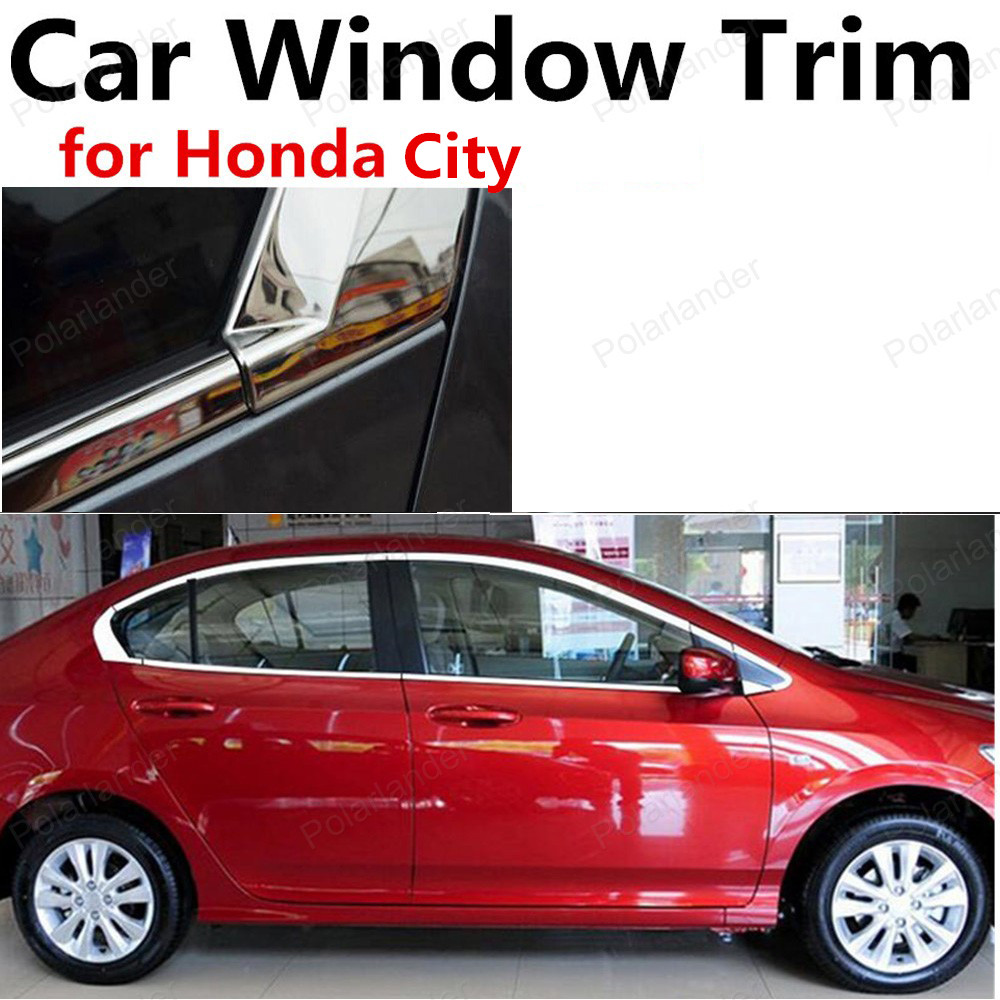 hot sell Car Styling Window Trim Accessories Stainless Steel without column For Honda City Decoration Strip stainless steel full window with center pillar decoration trim car accessories for hyundai ix35 2013 2014 2015 24