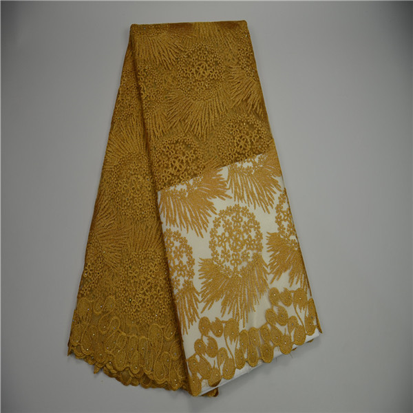 High Quality Gold Color African Lace Fabric Rhinestone Nigerian ...