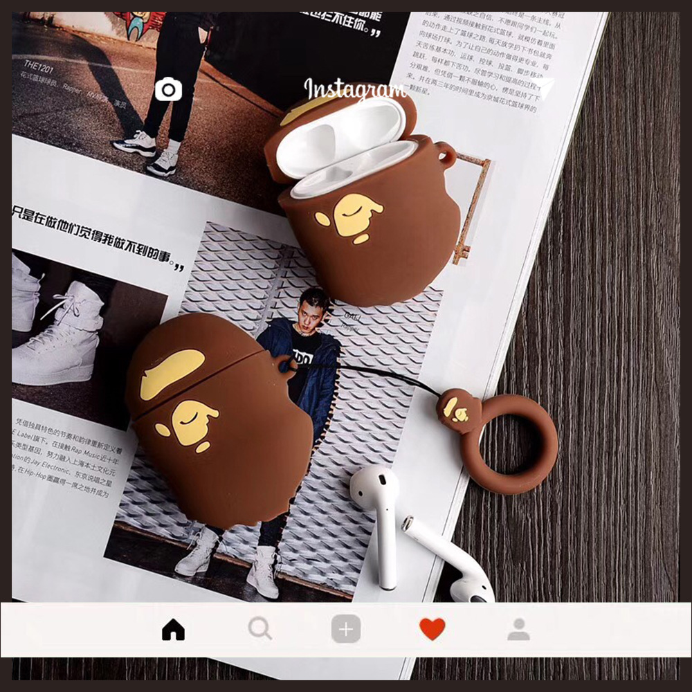 Fashion Retro 3D Ape-man Keychain Anti-fall Silicone Case Apple Airpods Accessories Earphone Bluetooth Cover Keyring