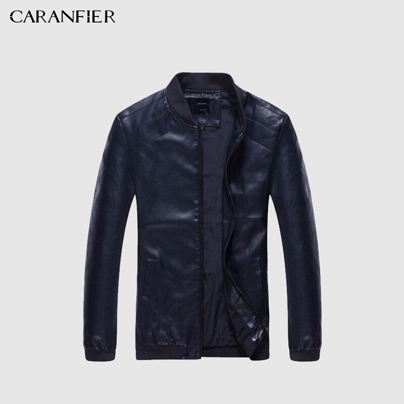 CARANFIER Marke Mode Winter Männer Leder Jacke Kleidung Punk Motorrad Jacke Qualität Männlichen Leder Mantel Casual Outwear