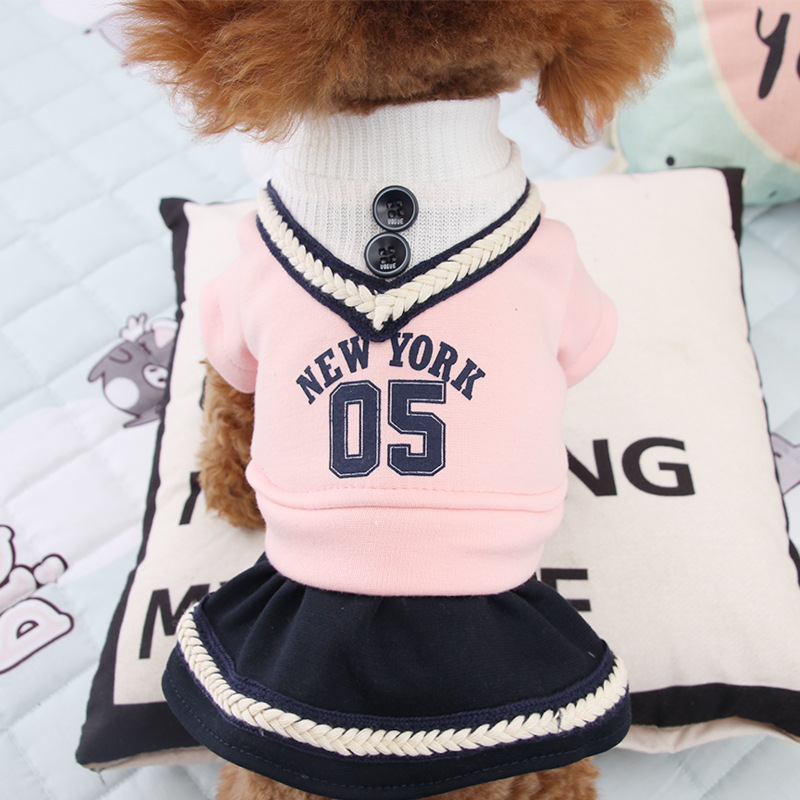 NEW Petstye Dog Cat Dress Campus Pet Skirt Dog Vest Clothes for Small Pet XS S M L XL in Dog Dresses from Home Garden